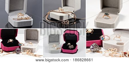 Jewelry Of Gold And Silver In Velvet Gift Box