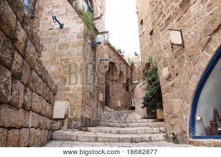 The old streets of Jaffa at early light, Tel Aviv, Israel