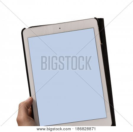 Holding touch screen tablet on white background.