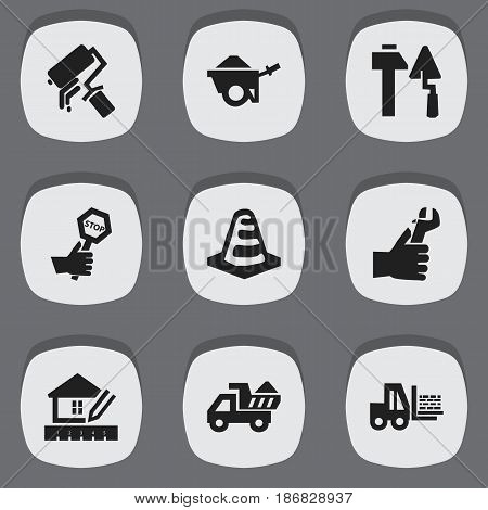 Set Of 9 Editable Construction Icons. Includes Symbols Such As Construction Tools, Scrub, Notice Object And More. Can Be Used For Web, Mobile, UI And Infographic Design.