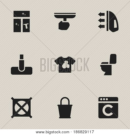 Set Of 9 Editable Hygiene Icons. Includes Symbols Such As Washing Glass, Pail, Hoover And More. Can Be Used For Web, Mobile, UI And Infographic Design.