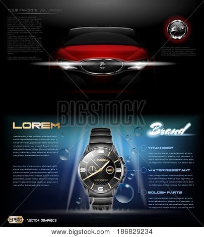 Digital vector red card and dark silver classic man watch mockup with blue bubbles, with your brand, ready for print ads or magazine design. Glossy and shine, realistic 3d style