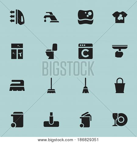 Set Of 16 Editable Cleanup Icons. Includes Symbols Such As Hoover, Laundress, Container And More. Can Be Used For Web, Mobile, UI And Infographic Design.