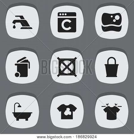 Set Of 9 Editable Hygiene Icons. Includes Symbols Such As Clean T-Shirt, Container, Faucet And More. Can Be Used For Web, Mobile, UI And Infographic Design.