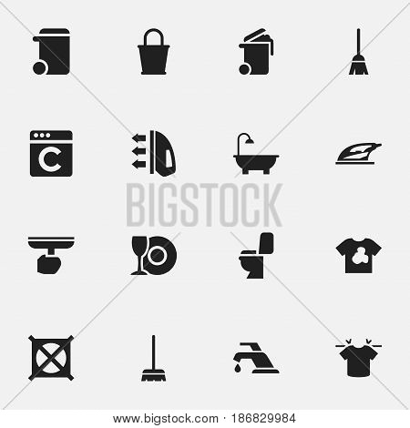 Set Of 16 Editable Hygiene Icons. Includes Symbols Such As Restroom, Plate, Dustbin And More. Can Be Used For Web, Mobile, UI And Infographic Design.