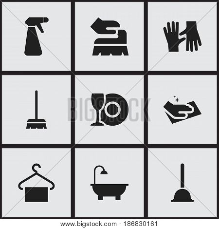 Set Of 9 Editable Cleaning Icons. Includes Symbols Such As Whisk, Pulverizer, Gauntlet And More. Can Be Used For Web, Mobile, UI And Infographic Design.