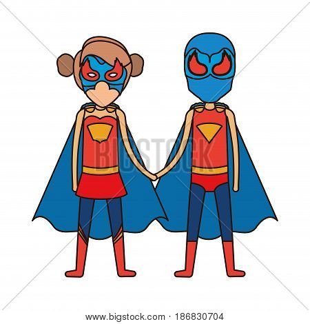 colorful silhouette with faceless duo of superheroes united of the hands and her with collected hair and closed eyes vector illustration