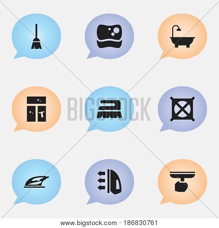 Set Of 9 Editable Cleaning Icons. Includes Symbols Such As Sweep, Washing Glass, Broomstick And More. Can Be Used For Web, Mobile, UI And Infographic Design.
