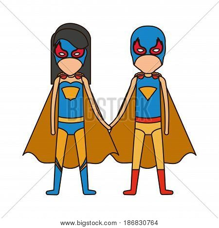 colorful silhouette with faceless duo of superheroes united of the hands and her with straight long hair and closed eyes vector illustration