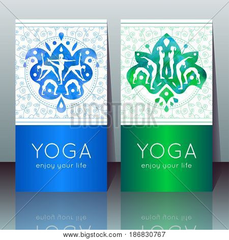 Vector yoga cards with girls in yoga poses ethnic indian ornament linear pattern and sample text for use as a template of banner poster for Yoga day invitation for yoga center studio or retreat.