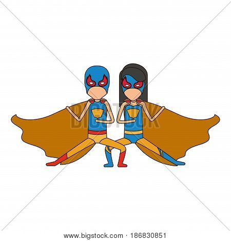 colorful silhouette with faceless duo of superheroes in defensive pose and her with straight long hair and closed eyes vector illustration