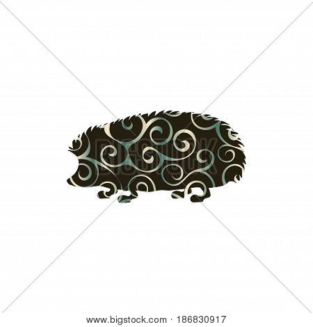 Hedgehog wildlife color silhouette animal. Vector Illustrator.
