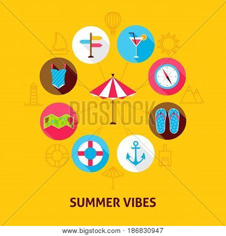 Concept Summer Vibes. Vector Illustration of Sea Holiday Infographics Circle with Flat Icons.