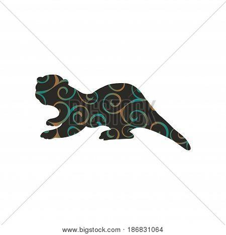 Otter mammal color silhouette animal. Vector Illustrator.