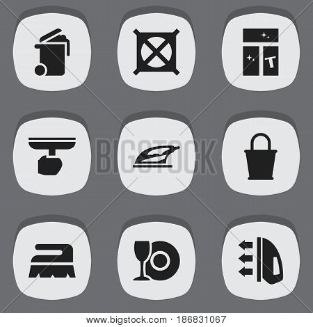 Set Of 9 Editable Hygiene Icons. Includes Symbols Such As Appliance, No Laundry, Washing Glass And More. Can Be Used For Web, Mobile, UI And Infographic Design.