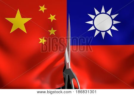 Taiwan independence and secession from One China policy concept, 3D rendering