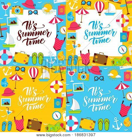 Summer Posters. Vector Illustration of Flat Style Sea Travel Postcards with Lettering.