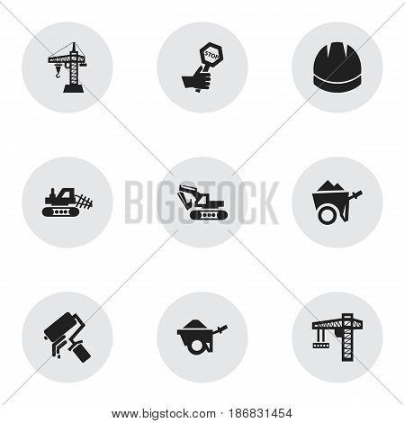 Set Of 9 Editable Structure Icons. Includes Symbols Such As Endurance , Scrub, Handcart. Can Be Used For Web, Mobile, UI And Infographic Design.