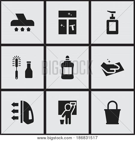 Set Of 9 Editable Hygiene Icons. Includes Symbols Such As Pail, Towel, Cleanser And More. Can Be Used For Web, Mobile, UI And Infographic Design.