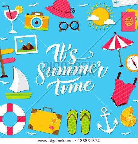 Summer Time Lettering Postcard. Vector Illustration of Flat Style Sea Travel Poster.