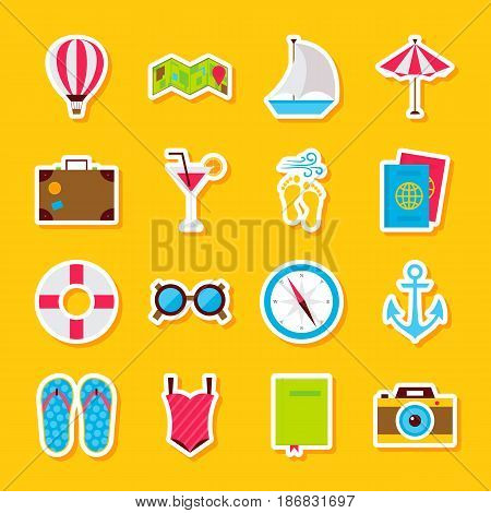 Summer Time Stickers. Vector Illustration Flat Style. Collection of Seasonal Holiday Symbols.