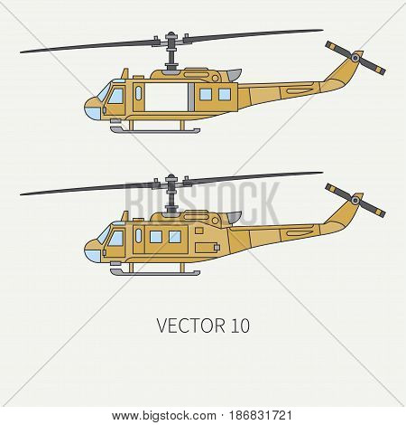Line flat color vector icon set military turboprop transportation helicopter. Army equipment and armament. Retro copter. Cartoon. Assault. Soldiers. War. Illustration and element for design, wallpaper poster