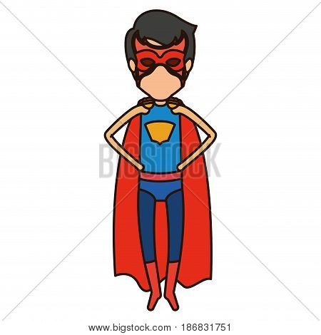 colorful silhouette with faceless superhero young flying with hands in your waist and closed eyes vector illustration