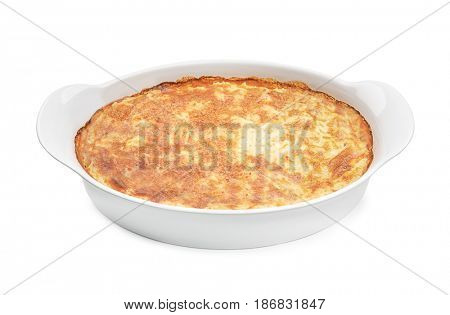 Baking dish with tasty cooked meal on white background