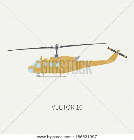 Plain flat color vector icon military turboprop transportation helicopter. Army equipment and armament. Retro copter. Cartoon. Assault. Soldiers. War. Illustration and element for design, wallpaper.