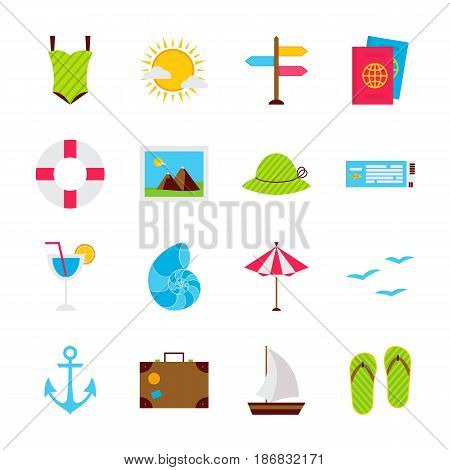 Summer Travel Objects. Vector Illustration. Sea Holiday Collection of Items Isolated over White.
