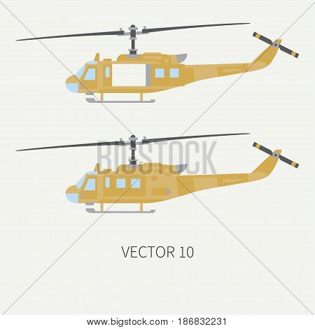 Plain flat color vector icon set military turboprop transportation helicopter. Army equipment and armament. Retro copter. Cartoon. Assault soldiers. War. Illustration and element for design, wallpaper