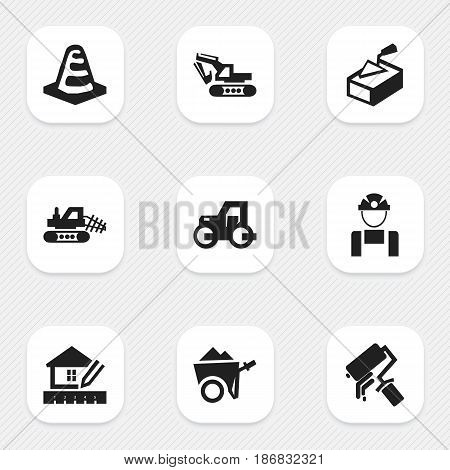 Set Of 9 Editable Construction Icons. Includes Symbols Such As Mule, Home Scheduling, Scrub And More. Can Be Used For Web, Mobile, UI And Infographic Design.