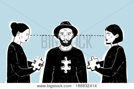 Concept of love triangle, difficult choice. Young guy and two girls with puzzle piece. Vector hand drawn illustration on blue background