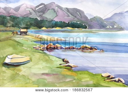 Tern Lake with Mountains. Landscape watercolor painting of snow covered mountains with a lake