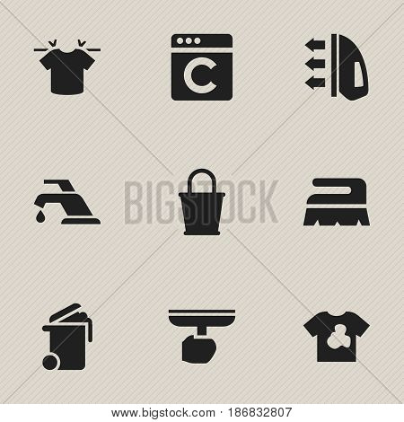 Set Of 9 Editable Cleaning Icons. Includes Symbols Such As Steam, Container, Brush And More. Can Be Used For Web, Mobile, UI And Infographic Design.