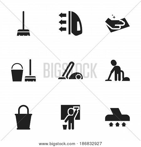 Set Of 9 Editable Hygiene Icons. Includes Symbols Such As Servant, Whisk, Exhauster And More. Can Be Used For Web, Mobile, UI And Infographic Design. poster