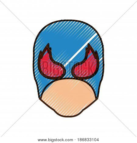 colored pencil silhouette of faceless man superhero and middle mask and shape of flame around the eyes and thick contour vector illustration