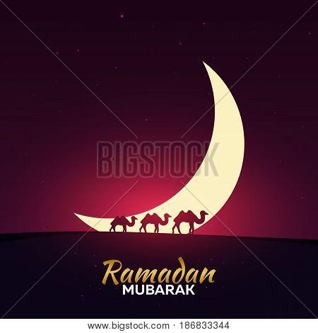 Ramadan Kareem. Ramadan Mubarak. Greeting Card. Arabian Night With Crescent Moon And Camels.