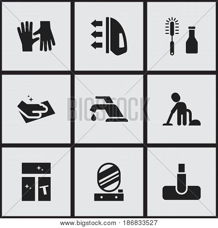 Set Of 9 Editable Cleaning Icons. Includes Symbols Such As Towel, Cleanser, Steam And More. Can Be Used For Web, Mobile, UI And Infographic Design.