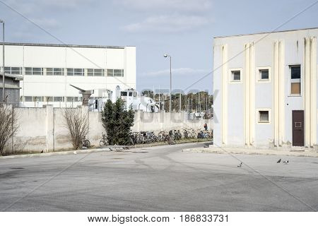 Refugee camp mostly for Africans in Brindisi Puglia Italy
