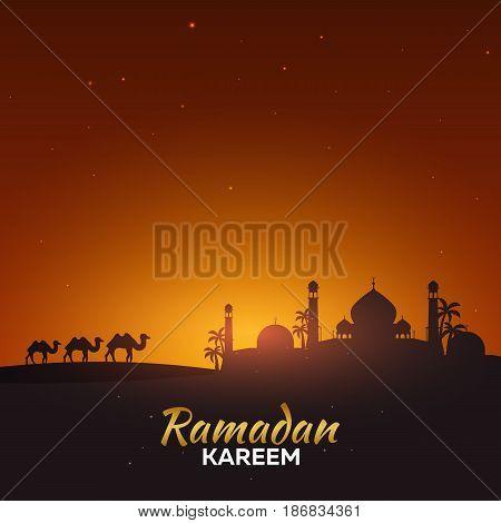 Ramadan Kareem. Ramadan Mubarak. Greeting Card. Arabian Night.