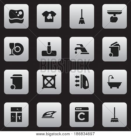 Set Of 16 Editable Cleanup Icons. Includes Symbols Such As Whisk, Plate, Steam And More. Can Be Used For Web, Mobile, UI And Infographic Design.