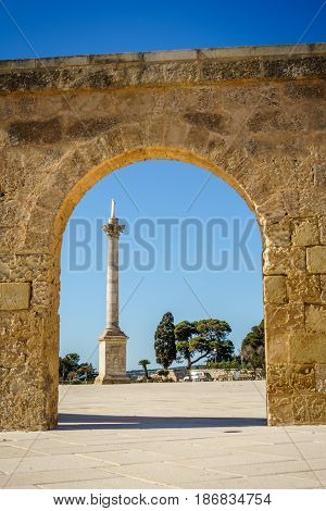 Monument By Sanctuary In Leuca, Puglia, Italy