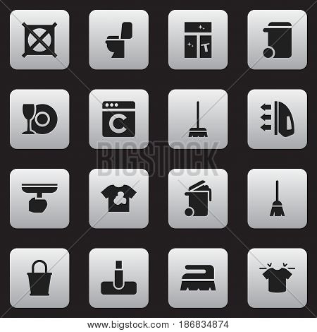 Set Of 16 Editable Cleaning Icons. Includes Symbols Such As Plate, Hoover, Laundress And More. Can Be Used For Web, Mobile, UI And Infographic Design.