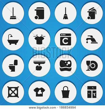 Set Of 16 Editable Cleaning Icons. Includes Symbols Such As Pail, Container, Laundress And More. Can Be Used For Web, Mobile, UI And Infographic Design.