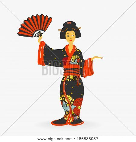 Japanese Woman with Fan Vector Illustration eps 8 file format
