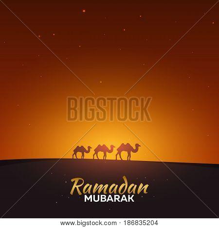 Ramadan Kareem. Ramadan Mubarak. Greeting Card. Arabian Night And Camels.
