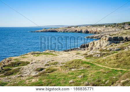Beauty of natural rocks and sea at the very end of Italy close to Leuca Puglia