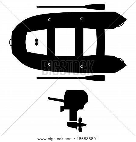 Inflatable boat with outboard motor and oars. Black and white vector illustration.