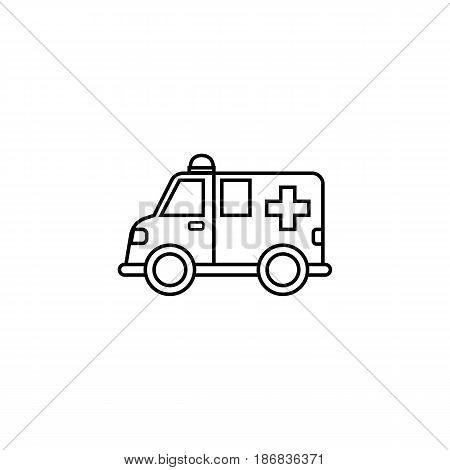 Ambulance car line icon,  healtcare sign, vector graphics, a linear pattern on a white background, eps 10.